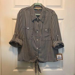 Ellen Tracy Tie front button down blouse sz XL
